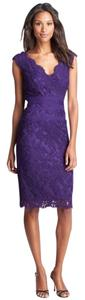 Tadashi Shoji Embroidered Lace Sheath Applique Scalloped Dress