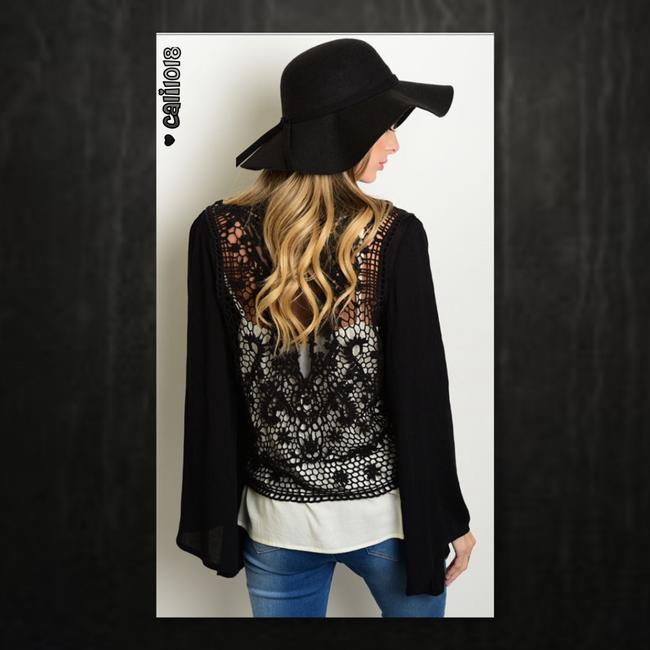 Other Bohemian Crochet Lace Bell Sleeve Poncho Cardigan Image 2