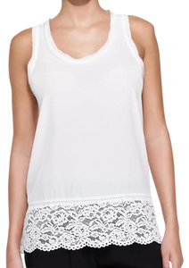 Rebecca Taylor Silk Lace Trim Top white