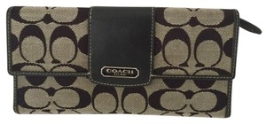 Coach LARGE TRIFOLD CHECKBOOK WALLET BLACK GRAY