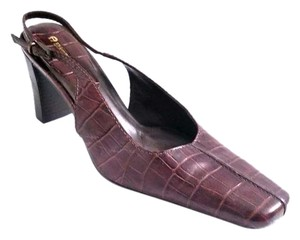 Etienne Aigner Slingback New Without Box Slip Resistant Sole Croc Embossed Leather Chocolate Brown Pumps