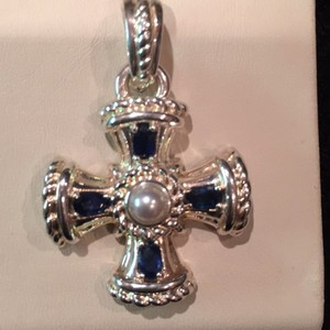 Judith Ripka Judith Ripka Sterling Blue Sapphire & Pearl Cross Enhancer