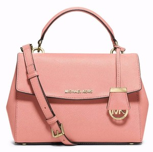 Michael Kors Mk Ava Ava Crossbody Mk Pink Small Ava Pink Satchel in PALE PINK/GOLD Hardware