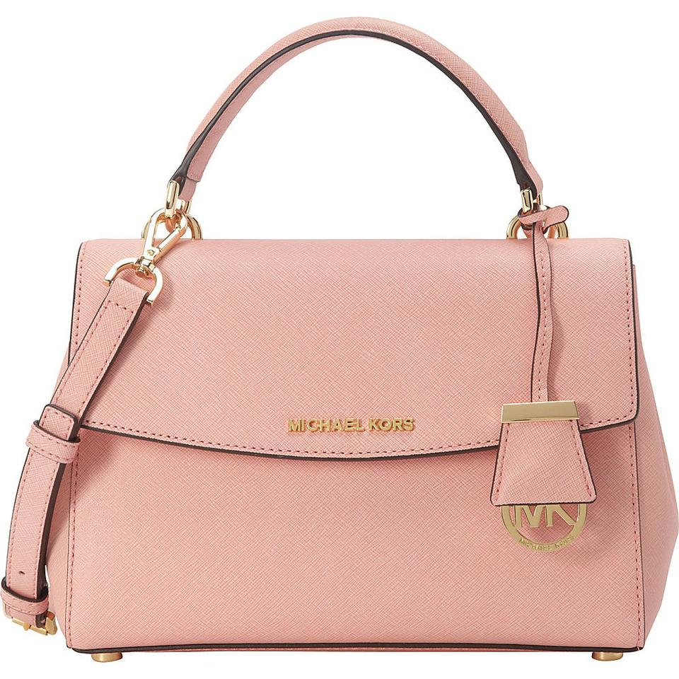 michael kors pale pink gold hardware leather ava small top handle saffiano crossbody new with. Black Bedroom Furniture Sets. Home Design Ideas