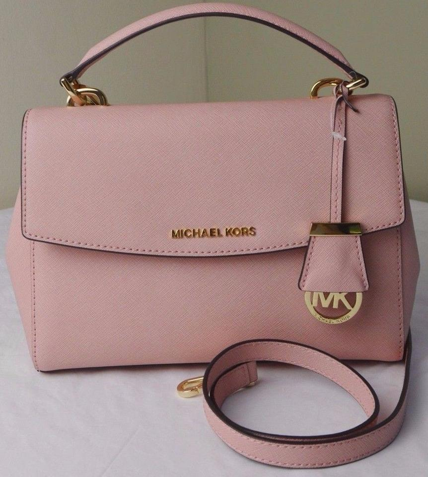 Michael Kors Pale Pink Gold Hardware Leather Ava Small Top