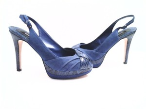 White House | Black Market Snakeskin Sapphire Blue Pumps