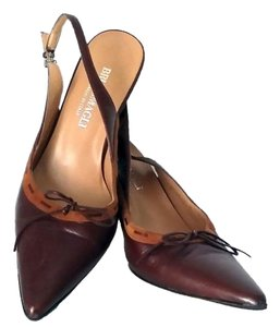 Bruno Magli Kitten Heel Slingback Leather Brown Pumps
