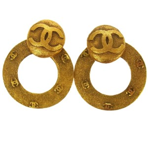 Chanel Chanel Vintage Large CC Round Hoop Earrings