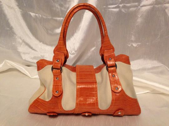 Valentino Classic Satchel Patterned Leather Linen Like Canvas Chrome Hardware Base Studs Studded Straps Classic V Logo Closure Orange/Beige Clutch