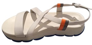 Prada White with grey and orange accents Sandals
