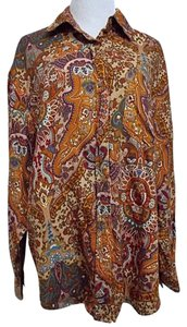 Van Heusen For Her Paisley Shirt Button Front Long Sleeve Xlarge Button Down Shirt Multi-Color