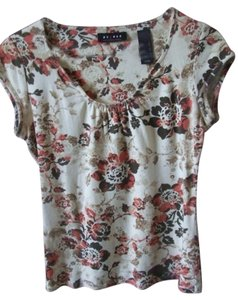 Axcess Floral Pattern Top Cream, tan, coral, brown