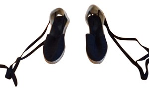From Spain Spanish Andalucian Sevillana Espadrille Black Wedges
