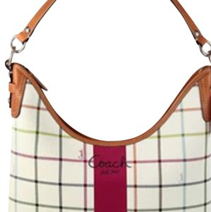Coach One Plaid Print Satchel in Cream/ Multi Colored