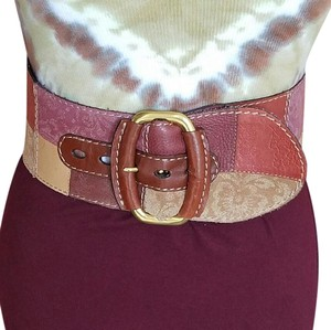 Fossil Wide Embossed Leather Patchwork Belt