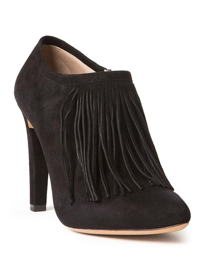 6d1d2648a9 Chloé Chloe Black Fringe Front Suede Leather Ankle Almond Toe Heels Shoes  Booties 838