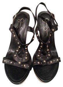 Jessica Simpson Black and gold Wedges
