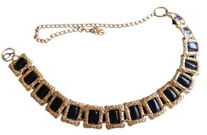 Chico's Pretty antique look black and gold chain belt