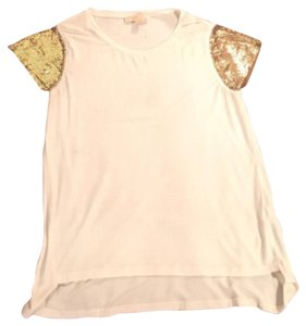 MICHAEL Michael Kors Gold Rayon Winter Party Sparkle Top