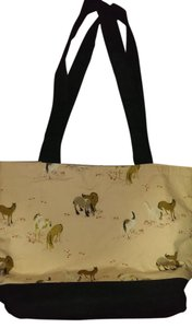 As If Bags Equestrian Tote in Peach, black and cream with horses and tack