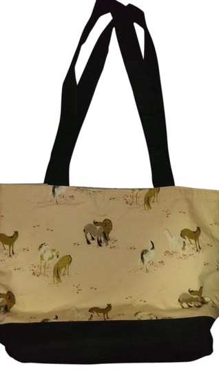 Preload https://img-static.tradesy.com/item/19838259/horse-equestrian-peach-black-and-cream-with-horses-and-tack-cotton-tote-0-1-540-540.jpg