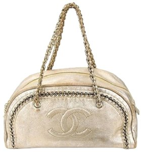 Chanel Bowler Metallic Ligne Gold Around Satchel in off gold