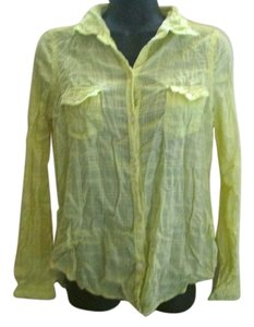 Old Navy Career Work Fall Autumn Button Down Shirt Yellow