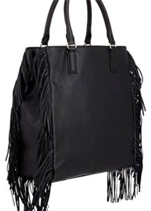 Barneys New York Fringe Boho Tote in Black