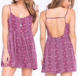 Full Tilt short dress purple Scoop Back Boho Woven Polyester Open Back on Tradesy