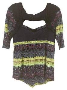 Free People Top Blue, Yellow, Green, Red, White