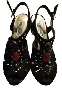 Steve Madden Black, multi color stones Sandals