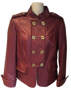 Ellen Tracy Like New Military burgundy Leather Jacket