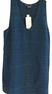 Vince Raw Silk See Through Pattern Top Blue