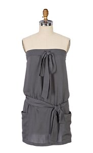 Anthropologie Silk Strapless Belted Tunic