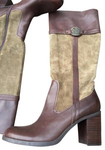 Etienne Aigner Leather Suede Equestrian Inspired Block Heel Green and chocolate Boots