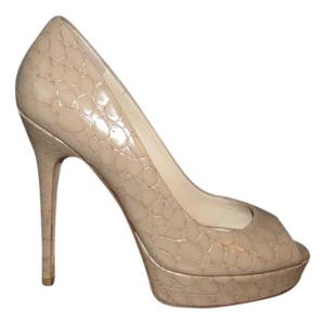 Jimmy Choo Croc Embossed Peep Toe Nude Pumps
