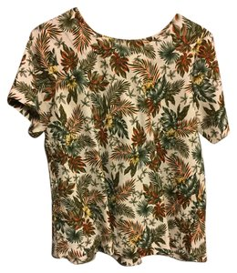 Mo Vint Printed Leaf Large Top Cream And Green