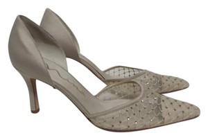 Nina Neutral Sparkle Satin Leather Soles Mesh Toes champagne Pumps