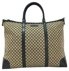 Gucci Diamante Canvas Large Leather Tote in Beige / Green