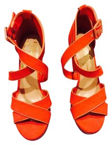 Jessica Simpson Orange and fuscia Wedges