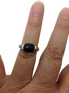 David Yurman size 6.5, sterling silver, 18k yellow gold, black onyx, solitaire ring