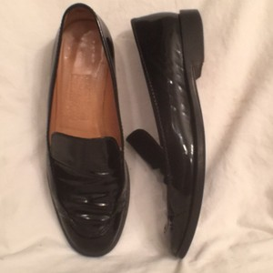 Salvatore Ferragamo Patent Leather Leather Slip Ons Loafers Black Flats