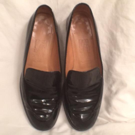 Salvatore Ferragamo Patent Leather Leather Slip Ons Loafers Black Flats Image 1