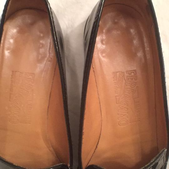 Salvatore Ferragamo Patent Leather Leather Slip Ons Loafers Black Flats Image 2