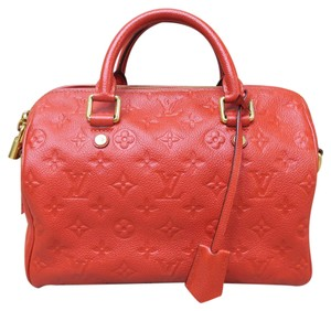 Louis Vuitton Lv Empreinte Speedy Bandouliere 25 Satchel in red