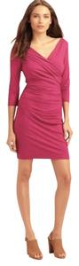 Diane von Furstenberg Ruched 3/4 Sleeves Stretchy Viscose Sheath Dress