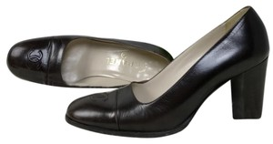 Chanel Square Toe Classic Leather Vintage Brown Pumps