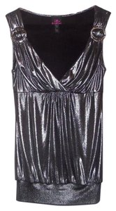 bebe Top Metallic Gray