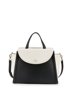 Kate Spade Cobble Hill Adrien Pebbled Leather Satchel in Black / Cement