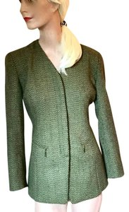 Dana Buchman Made In Usa Wool Zipper Business Dark Green, Light Green Jacket